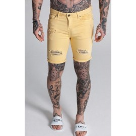 Ripped And Repair Yellow Denim Shorts